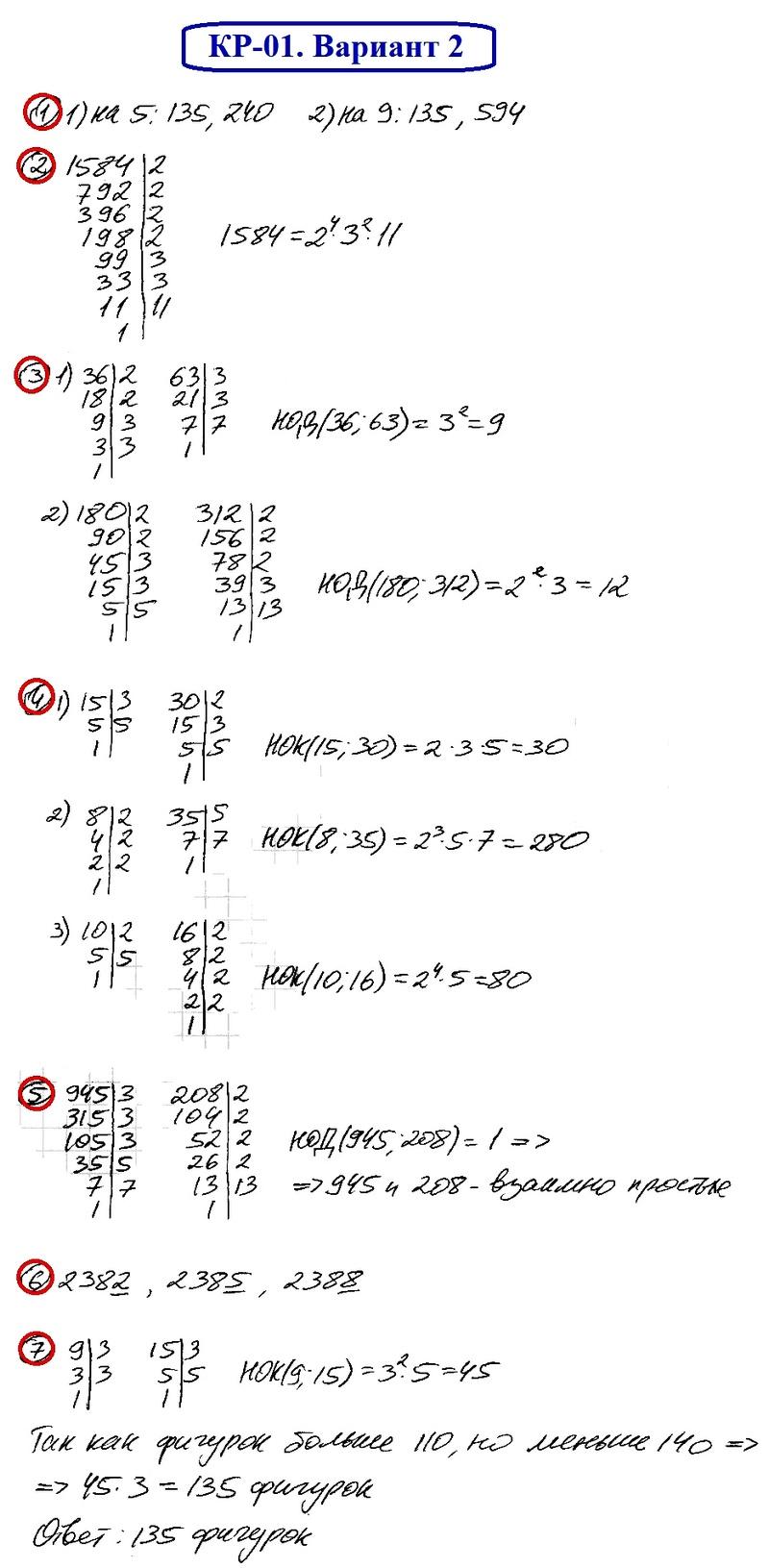 ОТВЕТЫ на КР-01 Математика 6 Мерзляк В2