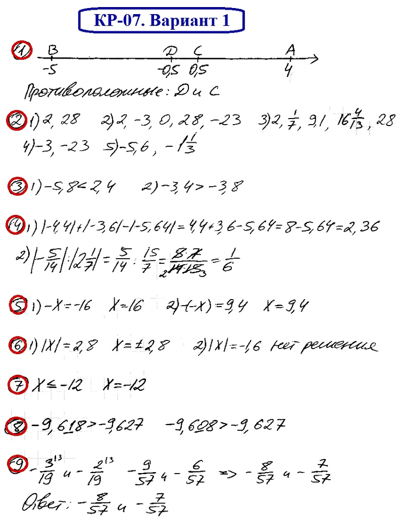 ОТВЕТЫ на КР-07 Математика 6 Мерзляк В1