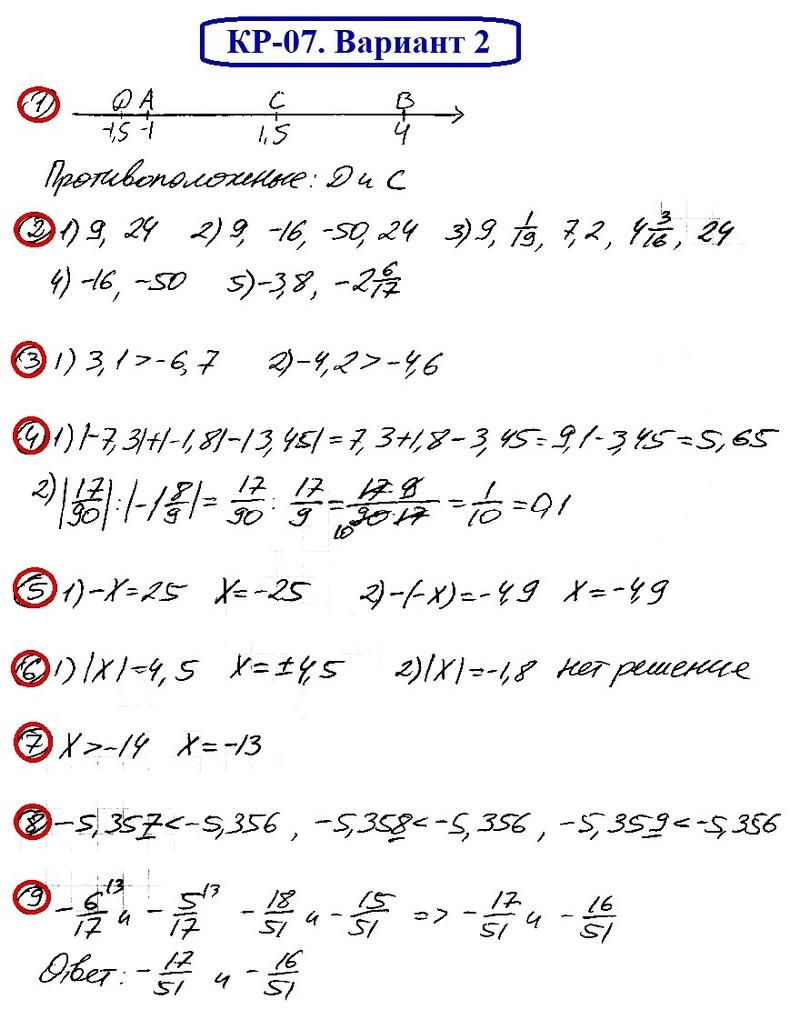 ОТВЕТЫ на КР-07 Математика 6 Мерзляк В2