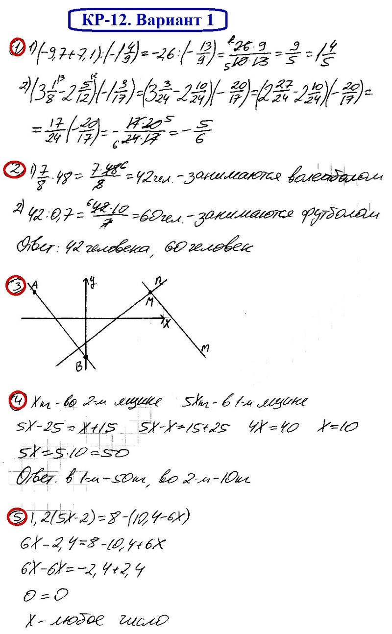 ОТВЕТЫ на КР-12 Математика 6 Мерзляк В1