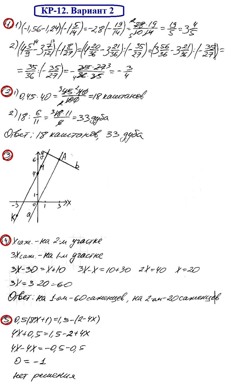 ОТВЕТЫ на КР-12 Математика 6 Мерзляк В2