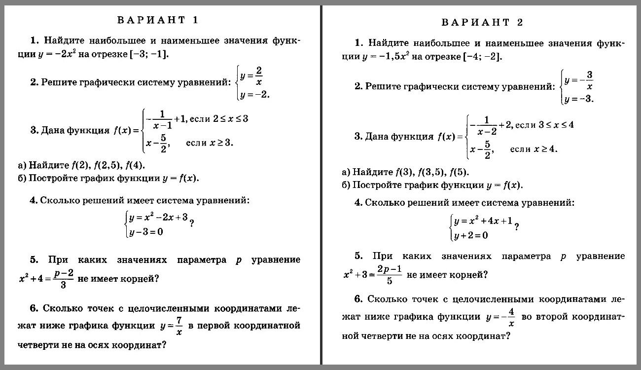 Контрольная работа 3. Алгебра 8 класс (УМК Мордкович и др.)