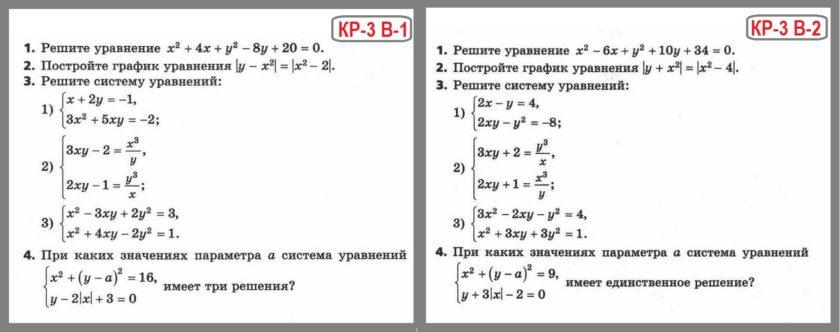 Алгебра 9 класс Мерзляк Контрольная работа 3