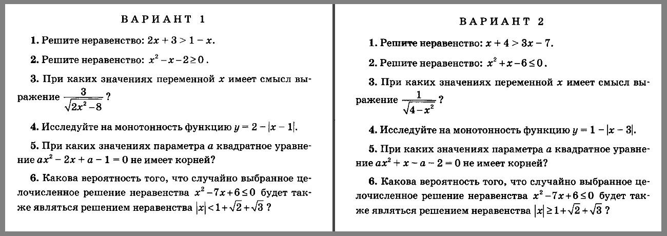 Контрольная работа 5. Алгебра 8 класс (УМК Мордкович и др.)