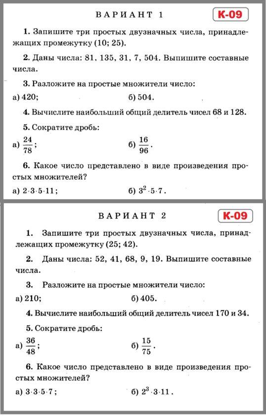 Контрольные по математике 6 класс Зубарева. Контрольная работа 9