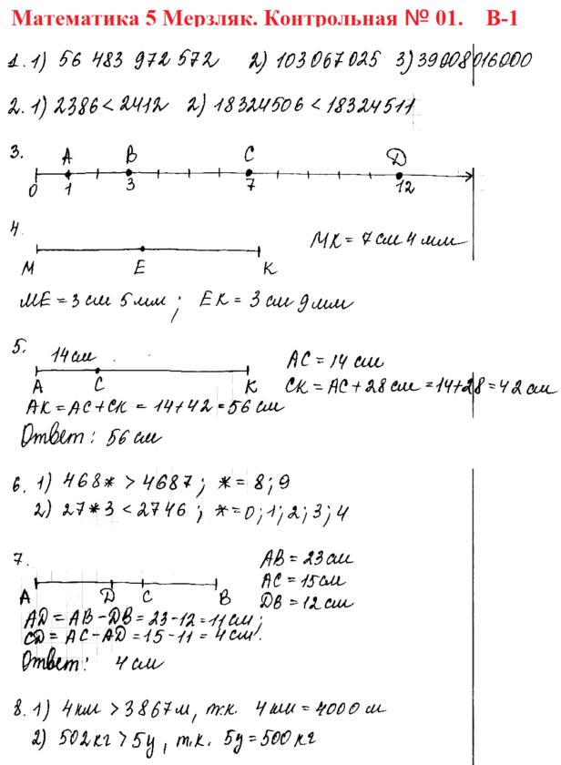 5 класс Мерзляк. Ответы на контрольную работу № 1 в1
