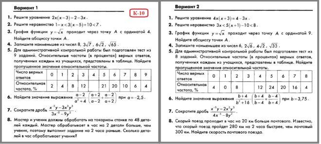 Алгебра 8 Макарычев. КИМ Глазков. Контрольная работа № 10
