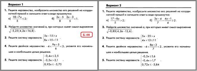 Алгебра 8 Макарычев. КИМ Глазков. Контрольная работа № 8