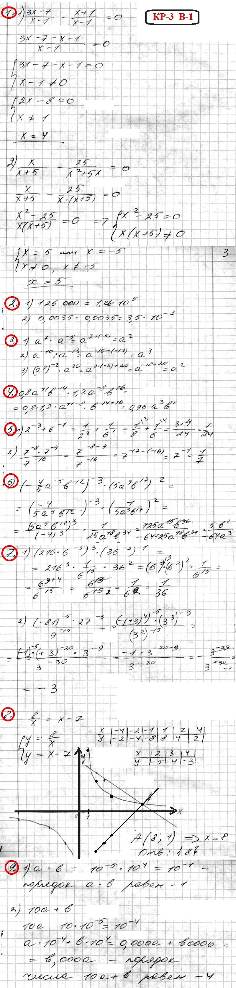 ОТВЕТЫ на КР-3 Алгебра 8 Мерзляк. Вариант 1