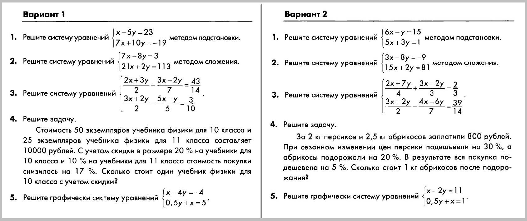 Алгебра 7 Макарычев Глазков КР-09
