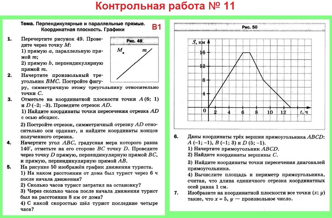 Контрольная работа № 11 в1. Математика 6 Мерзляк