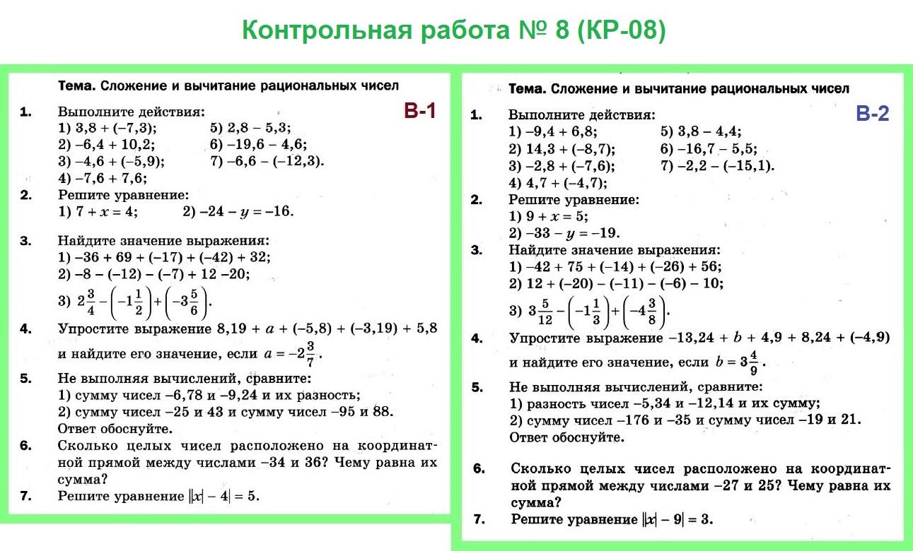Контрольная работа № 8. Математика 6 Мерзляк