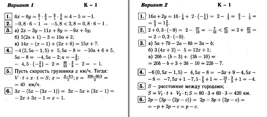 КР-1 Алгебра 7 Макарычев ОТВЕТЫ в1 и в2