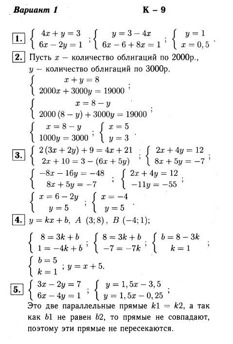 КР-9 Алгебра 7 Макарычев ОТВЕТЫ в1