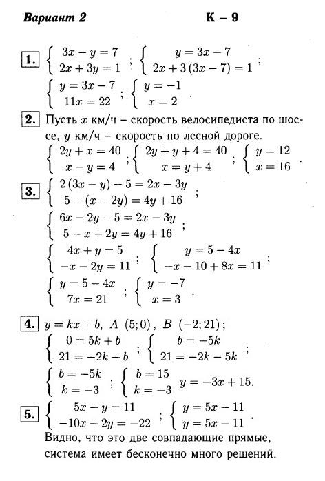 КР-9 Алгебра 7 Макарычев ОТВЕТЫ в2