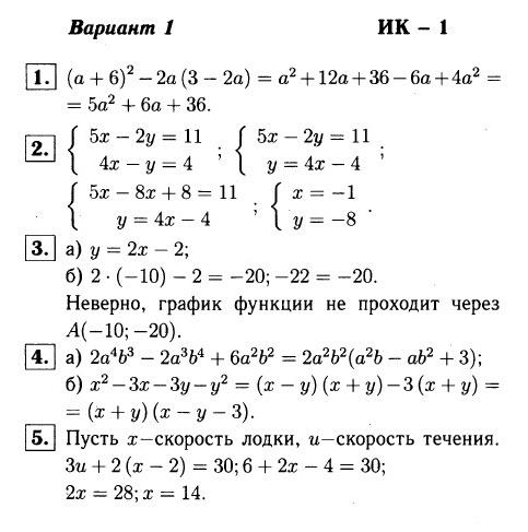 ИК-1 Алгебра 7 Макарычев ОТВЕТЫ в1