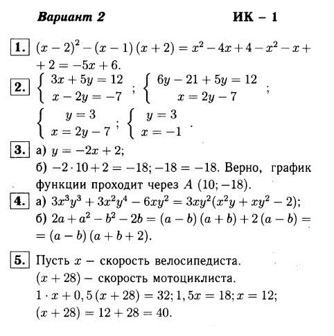 ИК-1 Алгебра 7 Макарычев ОТВЕТЫ в2
