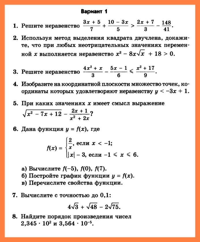 Мордкович Алгебра 8 ДКР-5