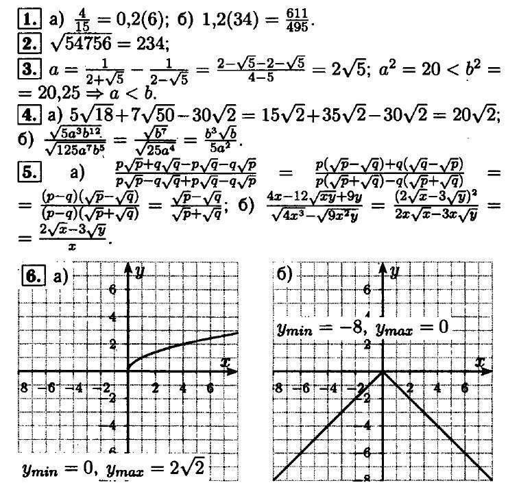 """Ответы на контрольную """"Функция y = √x. Свойства квадратного корня"""""""