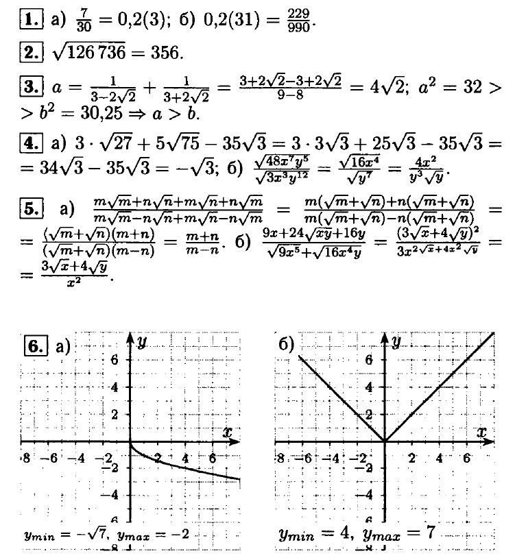 Ответы на контрольную № 2 по алгебре 8 класс (Мордкович)