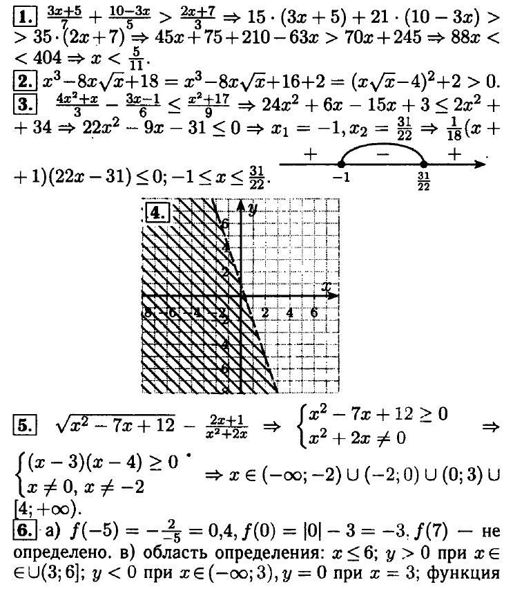 """Ответы на контрольную работу """"Неравенства"""" (8 класс)"""
