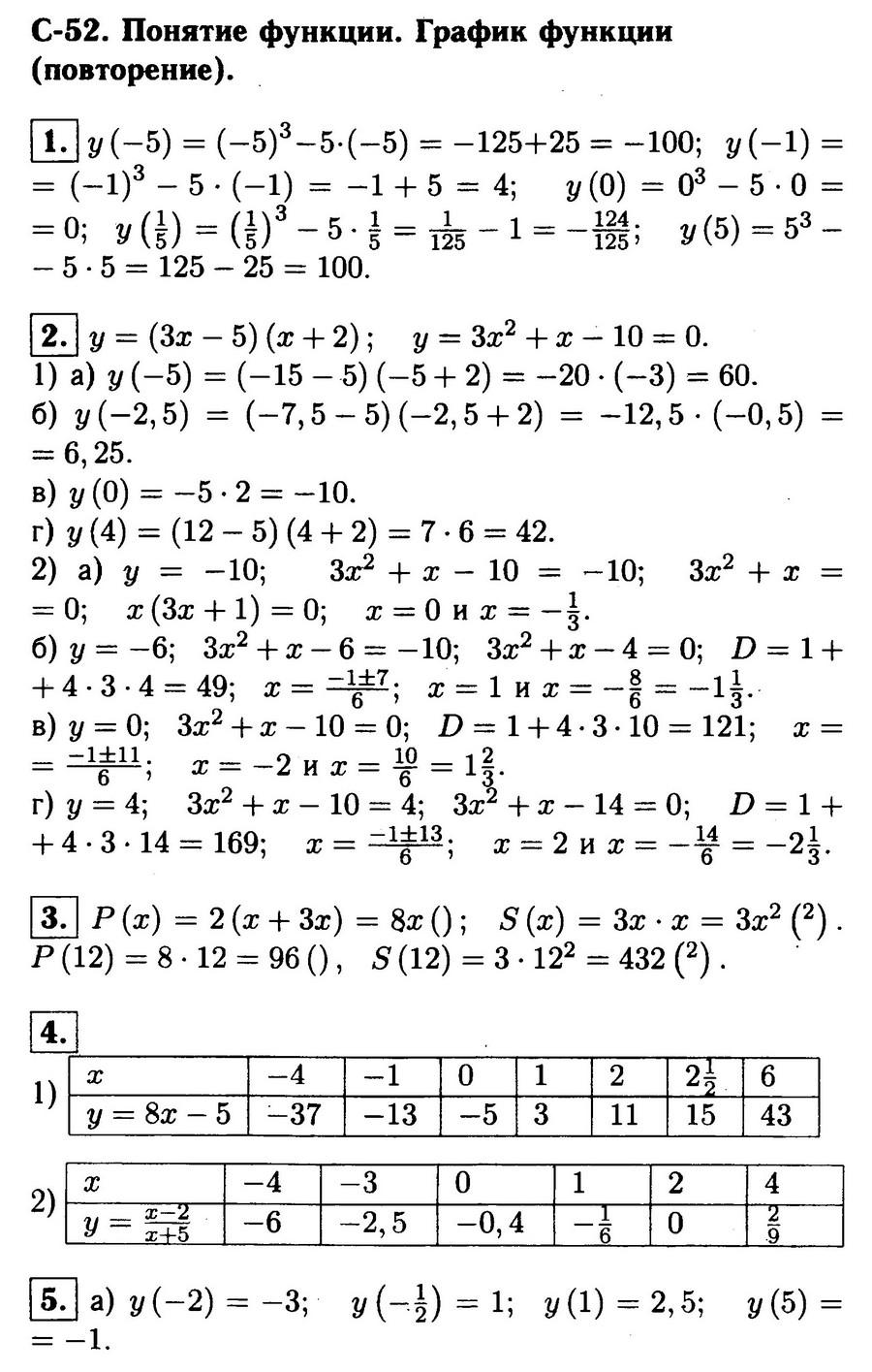 Ответы на самостоятельную работу № 52 алгебра 8