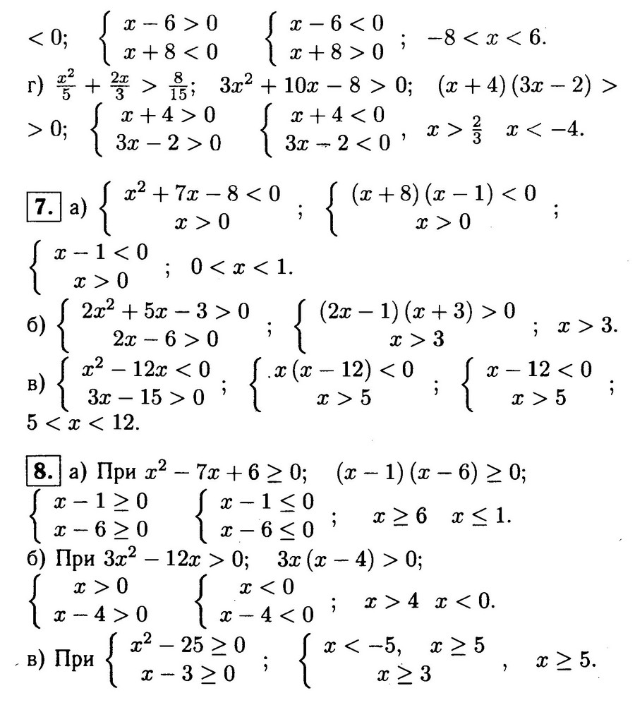 """Ответы на самостоятельную работу """"Решение квадратных неравенств"""""""