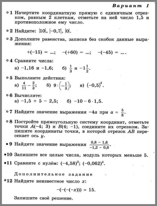 КР-7 Математика 6. Рациональные числа