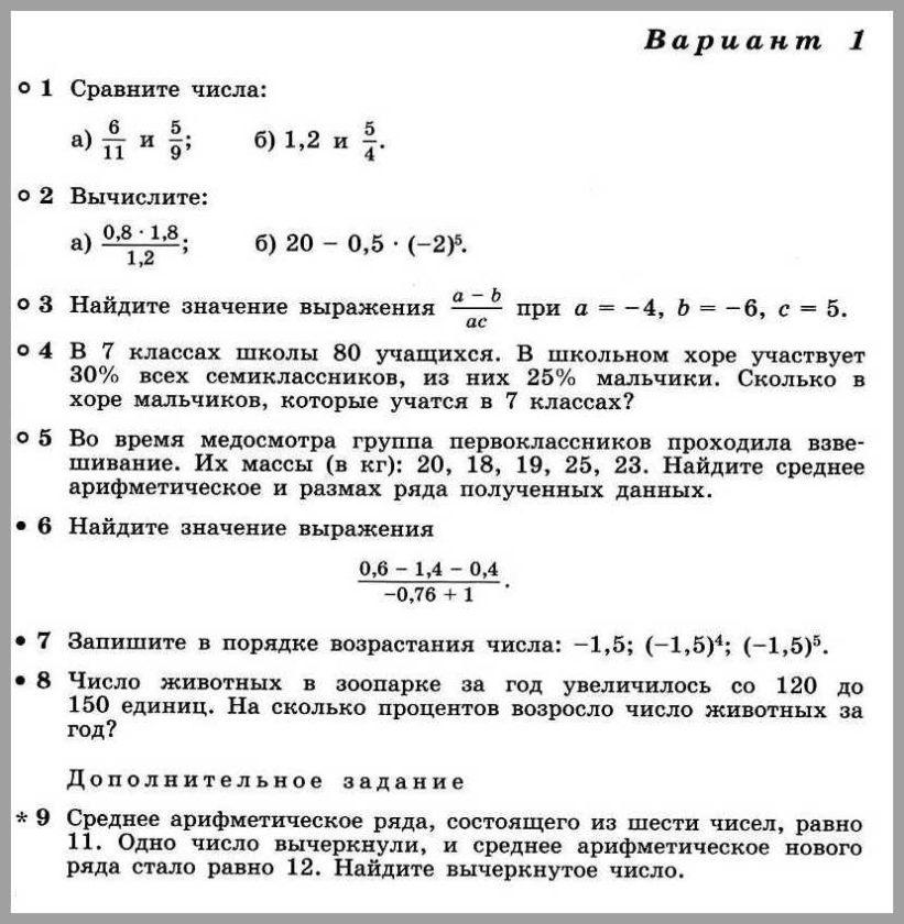 Алгебра 7 Дорофеев КР-01