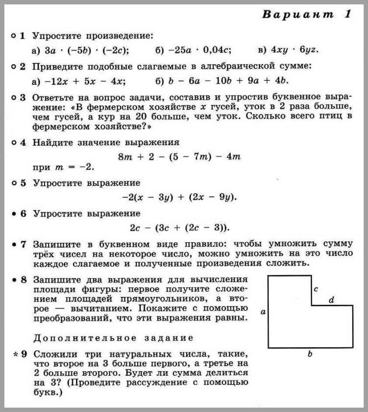 Алгебра 7 Дорофеев КР-03