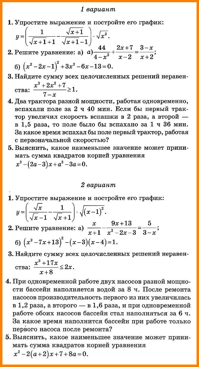 Алгебра 8 класс Итоговая (угл.)