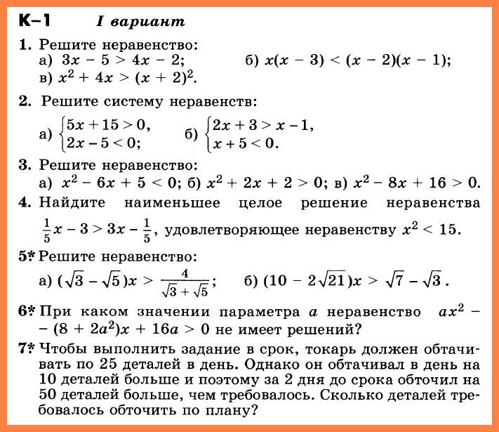 Контрольная работа по алгебре 9 класс К-1.