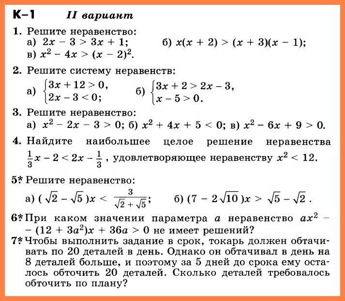 Алгебра 9 Никольский КР-1