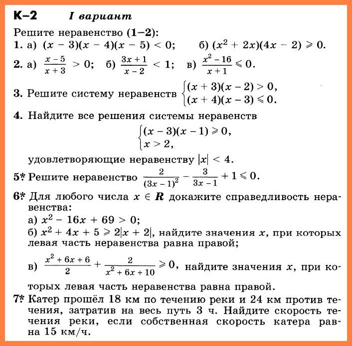 Алгебра 9 Никольский КР-2