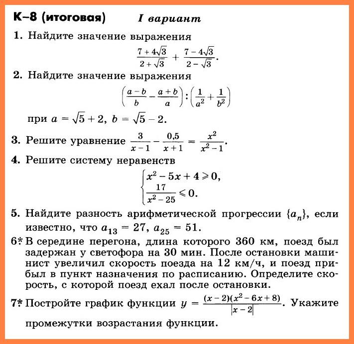 Алгебра 9 Никольский КР-8