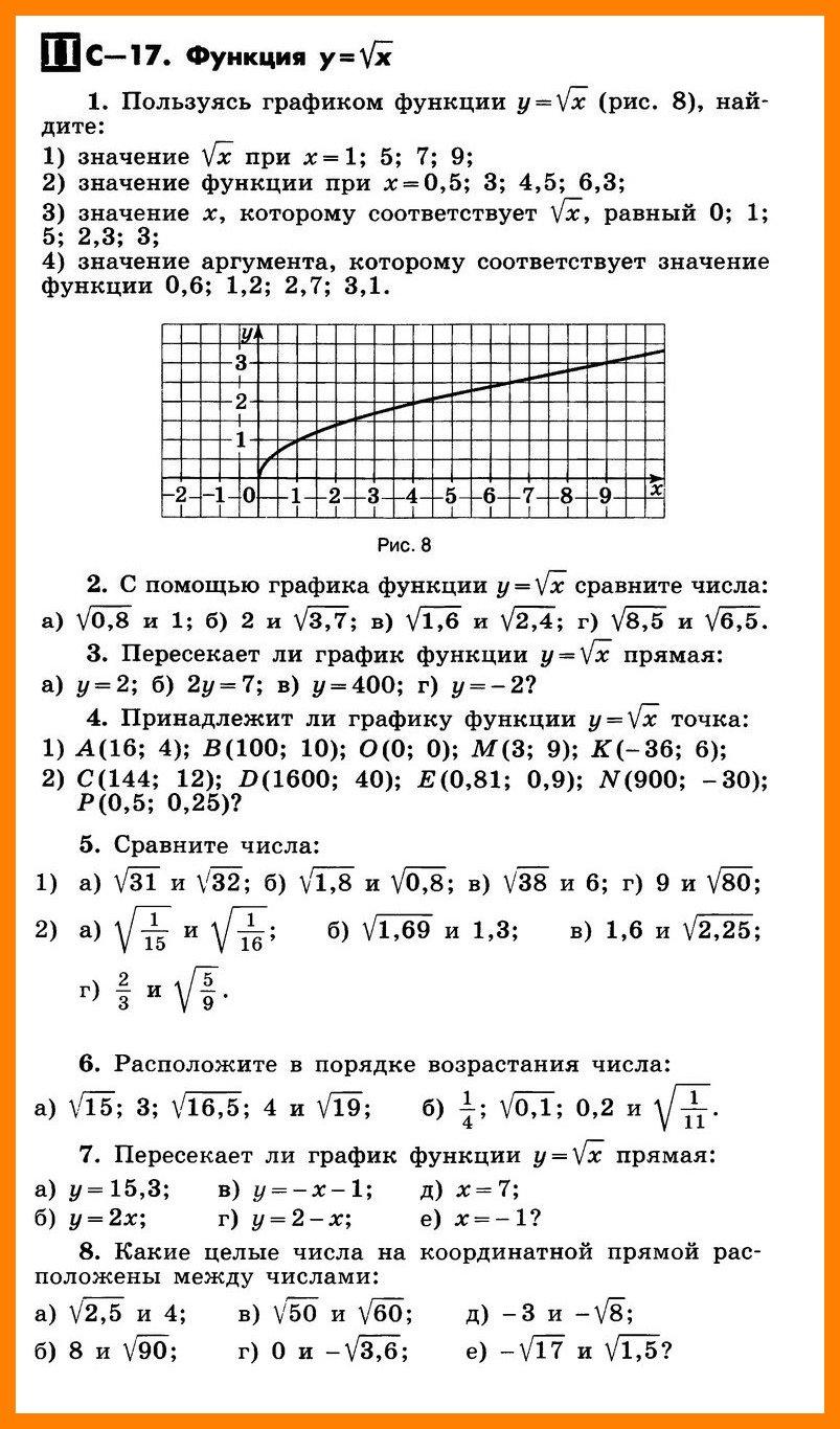 Функция y = √x