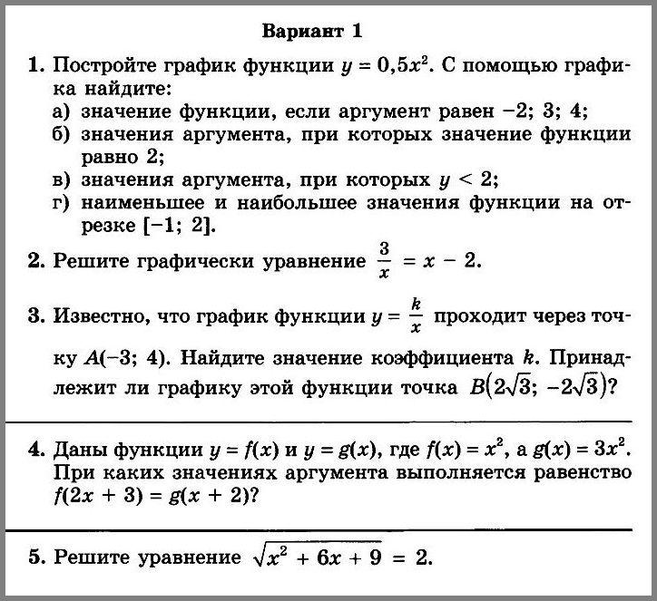 Контрольная работа № 4 по алгебре в 8 классе (Мордкович)