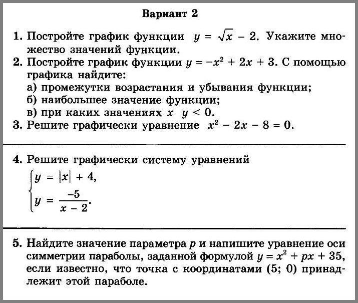 Алгебра 8 Мордкович КР-5