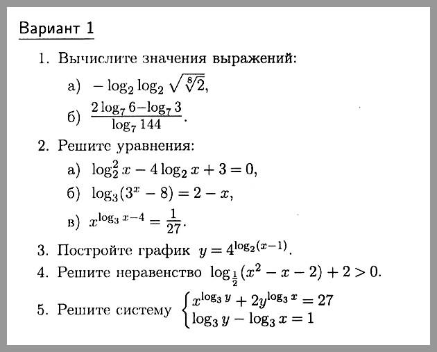 Алгебра 10 Зив Контрольная № 4