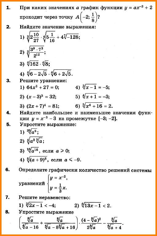 Алгебра 10 Мерзляк КР-2