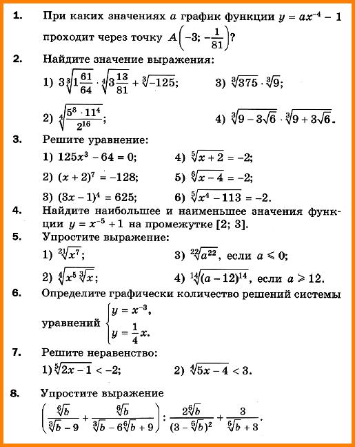 Контрольная работа № 2.  Степенная функция. Корень n-й степени и его свойства.