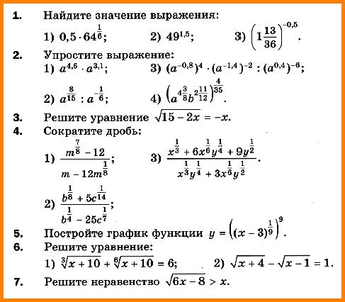 Алгебра 10 класс (Мерзляк) Контрольная работа № 3