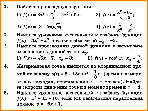 Контрольная работа № 7.  Производная. Уравнение касательной